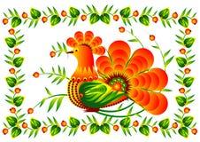 Птица на декоративном векторе EPS10 цветка Стоковые Изображения