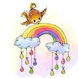 Птица носит красочную игрушку в своем клюве Стоковое Изображение