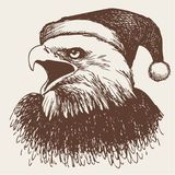 Птица орла с шляпой рождества, рукой doodle Стоковое фото RF