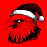Птица орла с шляпой рождества, рукой doodle Стоковые Изображения
