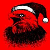 Птица орла с шляпой рождества, рукой doodle Стоковые Фотографии RF
