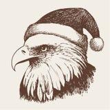 Птица орла с шляпой рождества, рукой doodle Стоковые Изображения RF