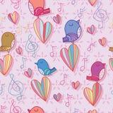 Птица поет пастельному цвету влюбленности примечания музыки безшовную картину иллюстрация штока