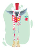 Птица рождества с шариком рождества иллюстрация штока