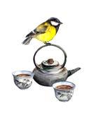 Птица синицы и азиатские изделия церемонии чая бесплатная иллюстрация