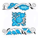 Птица счастья и хворостины с цветками Стоковое Изображение