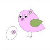Птица с яичками и цветками иллюстрация вектора