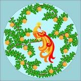 Птица Феникса на оранжевом дереве Стоковое Фото