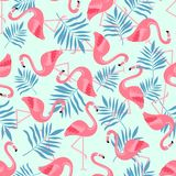 Птица фламинго и тропическая предпосылка цветков - ретро безшовная картина стоковая фотография rf