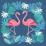 Птица фламинго и тропическая предпосылка цветков - ретро картина стоковое изображение rf