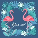 Птица фламинго и тропическая предпосылка цветков - ретро картина стоковые изображения rf
