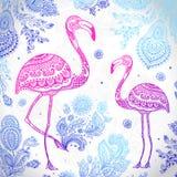 Птица фламинго вектора племенная с этническими орнаментами иллюстрация вектора