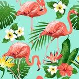 Птица фламинго и тропическая предпосылка цветков - безшовная картина иллюстрация вектора
