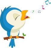 Птица шаржа голубая поя Стоковые Фото