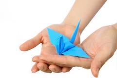 Птица японской бумаги голубая везения Стоковая Фотография