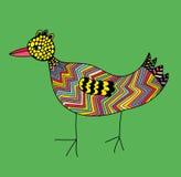Птица Doodle красочная на зеленой предпосылке Стоковые Фото