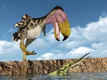 Птица Kelenken террора атакует морского гада Hupehsuchus Стоковые Изображения