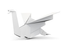 Птица Origami на белой предпосылке 3d представляют цилиндры image Стоковое Фото