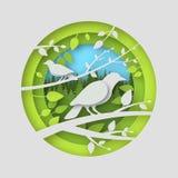 Птицы бумаги с тенями в круглом шлице Листья валов Стоковое фото RF