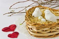 Птицы в гнезде в форме сердца Стоковое Изображение RF