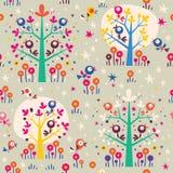 Птицы в картине леса природы шаржа деревьев ретро безшовной Стоковые Фото