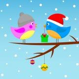 Птицы в крышках Иллюстрация вектора