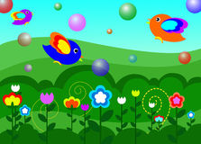 Птицы в саде иллюстрация вектора