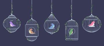 Птицы в серебряных клетках иллюстрация штока