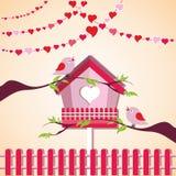 Птицы влюбленности и дерево Стоковое Фото