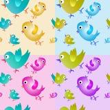 птицы делают по образцу безшовное Картина собрания 4 безшовная Комплект Стоковое Фото