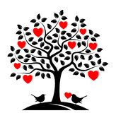 Птицы дерева и влюбленности сердца иллюстрация вектора