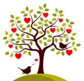 Птицы дерева и влюбленности сердца Стоковые Фотографии RF