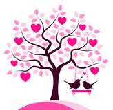 Птицы дерева и влюбленности сердца Стоковые Фото