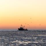 Птицы летая в заход солнца над замороженными морем и маломерным судном Стоковая Фотография