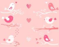 Птицы и ветви дня ` s валентинки милые Иллюстрация вектора