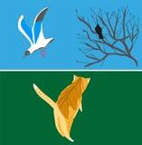 Птицы и кот от старого городка Бесплатная Иллюстрация