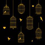 Птицы и собрание Birdcages иллюстрация штока