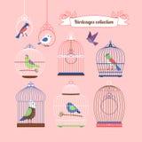 Птицы и birdcages иллюстрация вектора