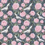 Птицы крана, цветки пиона Флористическая повторяя богато украшенная картина акварель Стоковые Изображения