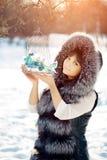 Птицы молодой женщины и зимы в женщине зимы клетки на backgroun Стоковая Фотография