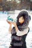 Птицы молодой женщины и зимы в клетке Стоковая Фотография