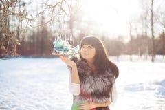 Птицы молодой женщины и зимы в клетке Стоковые Изображения