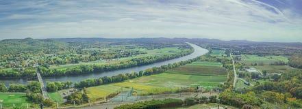 Птицы наблюдают панорамный взгляд сельской местности Sunderland Стоковое фото RF