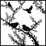 Птицы на вишневом дереве Стоковое Изображение RF