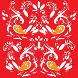 Птицы на красном цвете Стоковые Фото
