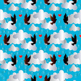 Птицы на облаках Безшовная предпосылка Стоковые Изображения RF