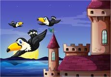 Птицы около замка бесплатная иллюстрация