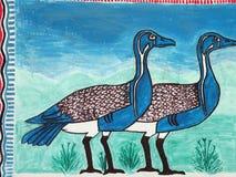 Птицы покрашенные на стене, искусстве улицы Стоковые Изображения