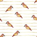 Птицы с крыльями сусального золота на золотых линиях безшовной картине предпосылки вектора Дизайн воробьев современный животный Э иллюстрация штока