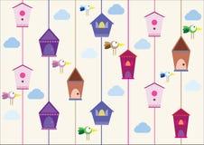 Птицы с домами иллюстрация вектора